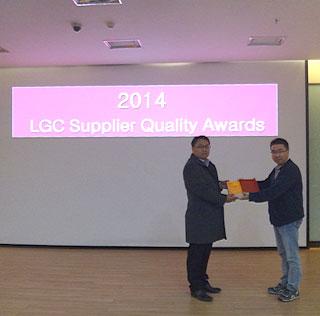 """<天势科技>获得""""2014 年度LG Chem Best Supplier""""荣誉称号"""